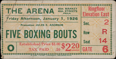 PHILLY BOXING HISTORY - Boxing Tickets - 1920s